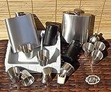 16-tlg. Großes Flachmann Set Edelstahl + 8 Schnapsbecher mit 2 Trichter, aus Edelstahl und 2 Trichterhalter aus Holz - Holzbecher BTV, komplett mit 2 Gürteltaschen für 8 Becher