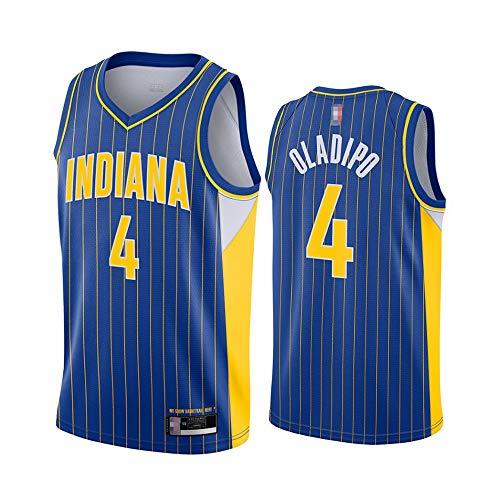 HS-XP Jersey De Baloncesto para Hombres - NBA Indiana Pacers # 4 Victor Oladipo Fans Jersey - Camiseta con Cuello En V Transpirable Y Resistente Al Desgaste,Azul,XXL(185~190cm)