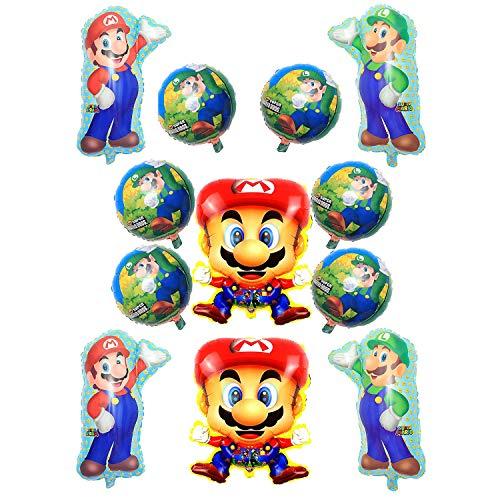 Globo de Foil Super Mario Decoraciones de Cumpleaños de Super Mario Aluminio Globo Suministros de Fiesta Mario Globo Decoración Supplie 12PCS