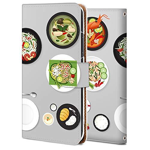 Huawei P30 Lite スマホケース 手帳型 カメラ穴 スタンド機能 カード収納 耐衝撃 高級PUレザー 全面保護 軽量 オリジナルなデザイン オーダーメイド 多機種対応 タイ料理 かわいい 食べ物 11769