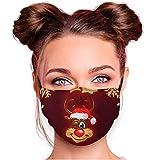 Santa Magix Alltagsmaske Stoffmaske Motiv Mund- Nasenschutz mit Filter einstellbare Ohrbügel Waschbar Herren Damen Weihnachten Winter Design (AM-561 Rentier gold)