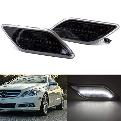 Xenon White Led Side Marker Lights for 2010-13 Mercedes Benz W212 Pre-LCI E-Class Front Fender Marker Lamps Smoked Lens OEM Side Marker Replacement