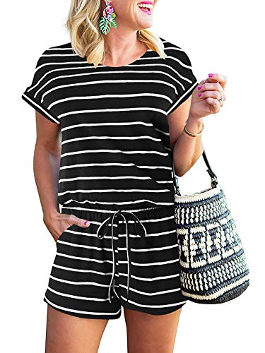 ANRABESS Ladie Summer Beach Rompers Casual Short Sleeve Crewneck Striped Short Pants Jumpsuit with Pockets A233-heibai-M