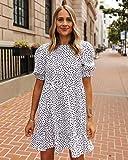 The Drop Vestido con Corte Escalonado para Mujer por @fashion_jackson, Blanco y Lunares Negros,L
