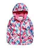 Hiheart Girls Hooded Fleece Lined Active Jacket Outdoor Waterproof Coat Heart Pattern Pink 7/8