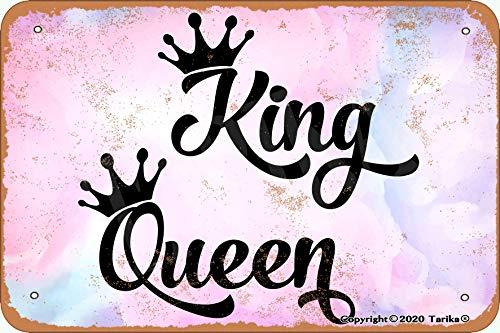Tarika King Queen - Placa decorativa de lata con aspecto retro (20,3 x 30,4 cm)