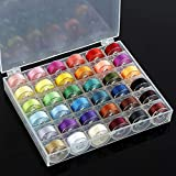 36Pcs Sewing Machine Bobbin Threads with Storage Case Box, Assorted Colors Pre-Wound Bobbins Set for Brother/Babylock/Janome/Elna/Kenmore/Babylock/Singer Sewing Machine (A)