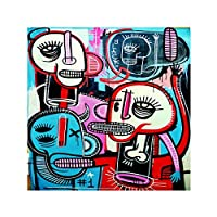 Canvas Painting Modern Abstract Colorful Graffiti Street Art Wall Art Picture Poster prints for Living Room Home Decor 40x40cm Frameless