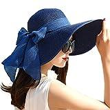 Donne Floppy Sun Hat Estate Tesa Larga Beach Cap Pieghevole Cotone Cappello di Paglia con Nastro Skinny per Viaggi - blu - Taglia unica