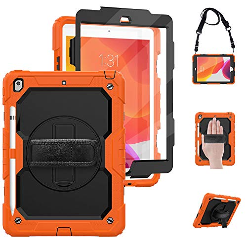 TSQ iPad 10.2 Case 2019 with Screen Protector, Heavy Duty Kidsproof Shockproof Silicone Case with 360 Degree Rotating Stand/Hand Grip Strap+Shoulder Strap+Pencil Holder for iPad 7th Generation,Orange