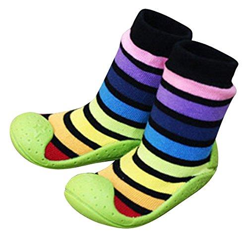 ComoBaby (コモベビー) ファーストシューズ 初めての 赤ちゃん靴 ソックスシューズ ベビーシューズ たっち あんよ 練習 11.5cm / 12.5cm 全10カラー (a. 11.5cm, 10. ブラックレインボー) 10a