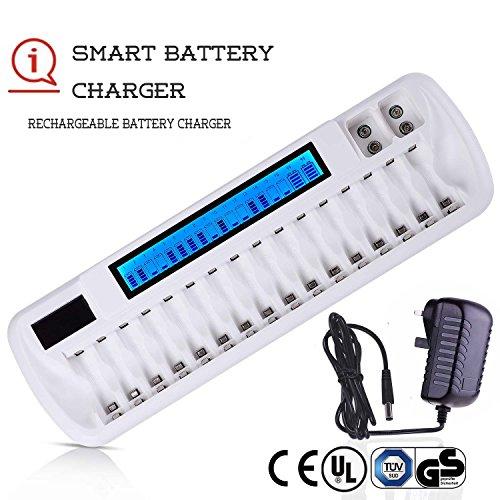 Caricabatterie Pile Ricaricabili Per AA AAA 9V a LCD 18 alloggiamenti con alimentatore'UK & Euro', caricabatterie multiplo con tecnologia di rilevamento batteria intelligente (certificato UL CE BS)
