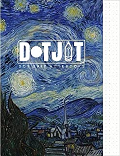 Dot Jot Dot Grid Notebook: Van Gogh Starry Night Design, 50 Pages, 8.5 x 11 (Journal,Diary) (Dotted Graph Paper)