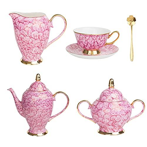 Juego de café de porcelana de hueso de estilo europeo, juego de té de la tarde británico de gama alta de cerámica taza de café Set de regalo (15 piezas) rosa