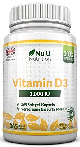 Vitamin D3 1000 IU hochdosiert | für Knochen, Zähne & Immunsystem | Jahresversorgung | 100%...