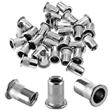 Get Bonsicoky 30Pcs M8 Rivet Nuts, 304 Stainless Steel Knurled Flat Head Threaded Insert Blind Rivet Nut Just for $8.99