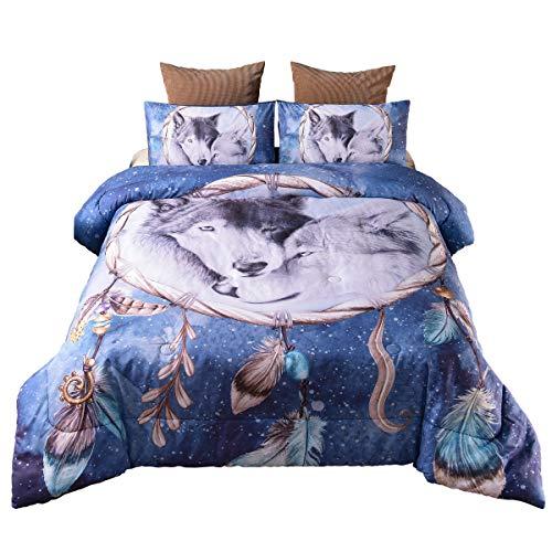 Holawakaka Queen Bedding Sets Bohemian Dream Catcher Wolf Print Comforter Set Boho Quilt Bedspread (Dreamcatcher Wolf)