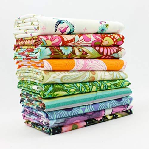 Tula Pink Half Yard Bundle (10 pcs) - Tula Pink - Free Spirit 18 x 44 inches Fabric cuts DIY Quilt Fabric