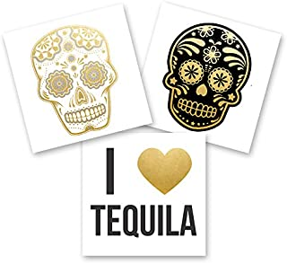CINCO DE MAYO VARIETY SET of 24 assorted premium waterproof metallic gold, silver and black jewelry temporary foil party Flash Tattoos - skull, tequila, sugar skull tattoo, party favor, metallic tat