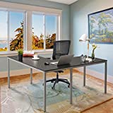Chadior L Shaped Corner Computer Gaming Desk 60' L x 55' W Modern Workstation Table for Small Space Home Office, Black with Silver Grey Legs