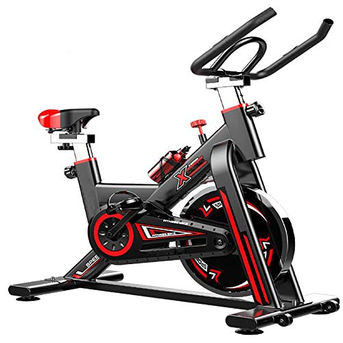 MLKE Bicicleta estática para interiores, bicicleta estática de interior con monitor LCD de resistencia ajustable, cómodo cojín silencioso para entrenamiento cardiovascular, color negro