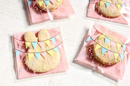 【Fuwari】 ラッピング袋 100枚 お菓子 チョコレート クッキー キャンディー アクセサリー 小物 包装袋 小分け ギフト袋 プレゼント HAPPYBIRTHDAY 誕生日 袋 用 S5 (�B)