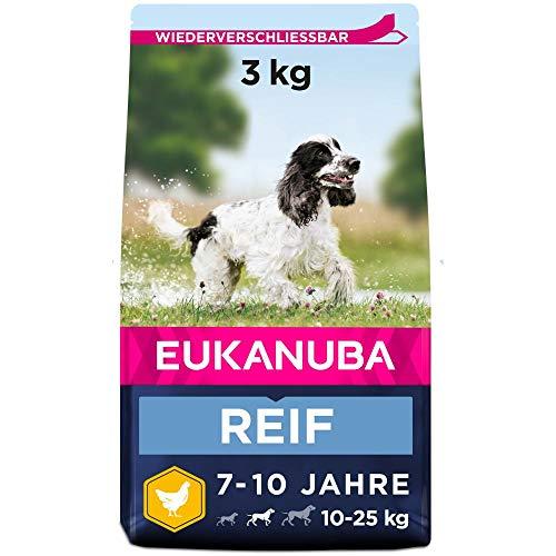 Eukanuba Hundefutter mit frischem Huhn für mittelgroße Rassen, Premium Trockenfutter für reife Hunde, 3 kg