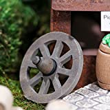Group of 4 Miniature Rustic Wood Look Old Fashioned Wagon Wheels for Embellishing Fairy Gardens, Crafts and Displays