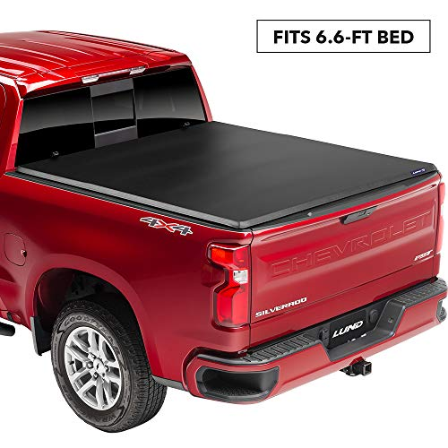 Lund Genesis Elite Roll Up Soft Roll Up Truck Bed Tonneau Cover | 969158 | Fits 2014-2018, 19 Legacy/Limited GMC Sierra & Chevrolet Silverado 1500 8' Bed