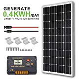 ECO-WORTHY 12V 100W Monocrystalline Solar Panel + 20A LCD Charge Controller + a Pair of 16.4ft Solar...