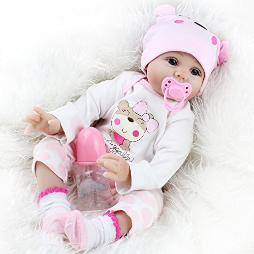 22 Inches Reborn Baby Dolls, Handmade Lifelike Baby Dolls Girl Realistic Soft Vinyl Newborn Baby Dolls That Looks Real