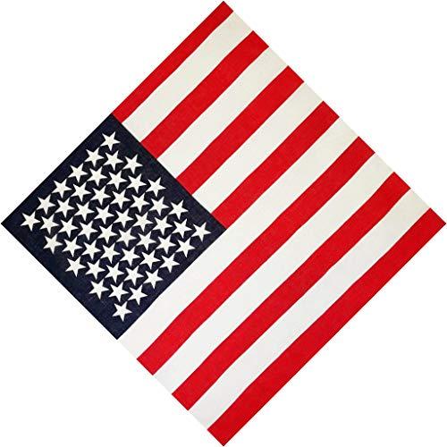 VIccoo Pañuelo Bandana, 50x50cm Unisex algodón Deporte Bolsillo Bufanda Cuadrada Bandera Americana Rayas Estampado de Estrellas Banda Bandana Hip-Hop Pulsera Abrigo de Pelo - 1#