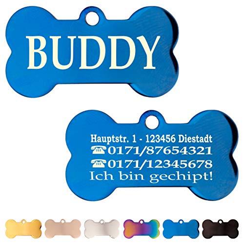 Iberiagifts - Hundemarke Knochen aus Edelstahl in verschiedenen Farben mit Gravur für mittelgroße bis große Hunde und Katzen - Plakette graviert und personalisiert (Blau)