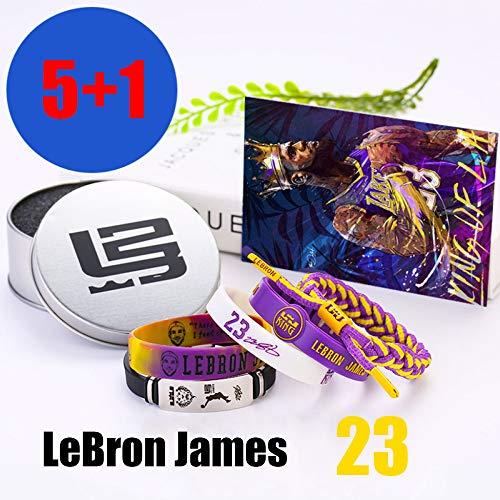 ZZH NBA Los Angeles Lakers Bracciali Silicone Motivazionale Set, Lebron James, Braccialetto Sportivo Unisex,A1