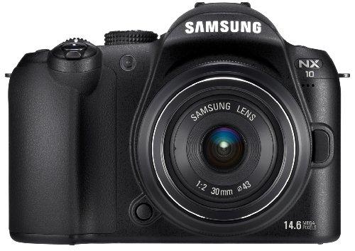 Samsung NX10 Systemkamera (14,6 Megapixel, Bildstabilisation) Kit inkl. 18-55 mm Objektiv, schwarz