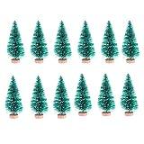 NUOBESTY Mini Alberi di Natale Ornamenti di Alberi di sisal Artificiali con basi in Legno per Decorazioni Natalizie per Feste di Natale 4 5 cm 24 pz