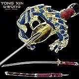YONG XIN SWORD-Japanese Katana Samurai Sword, Handmade, Practical, high Manganese Steel, Tempered/Clay Tempered, Full Tang, Sharp, Scabbard (Colourful Dragon)