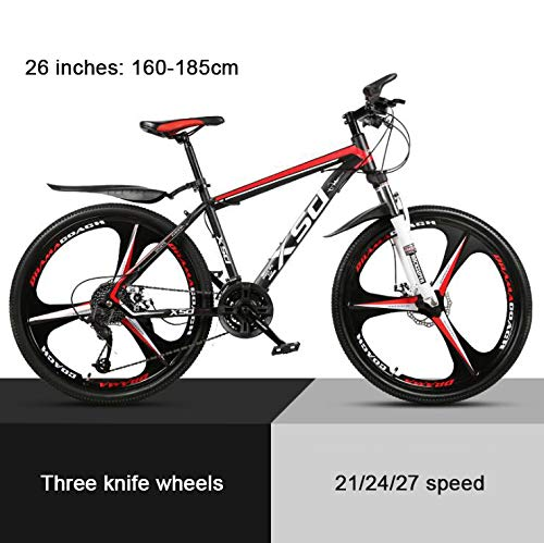 COUYY 26'Mountain Bike Wheel Damper Mito Black and red Triangle, high Carbon Hard Mountain Bike, Adjustable Seats, 21/24/27-speed,24speed