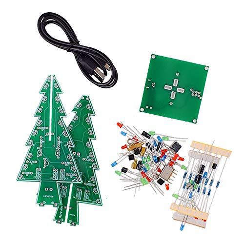 Nrpfell Kit DIY LED Albero di Natale 3D Kit Circuito Flash LED Rosso/Verde/Giallo Kit di...