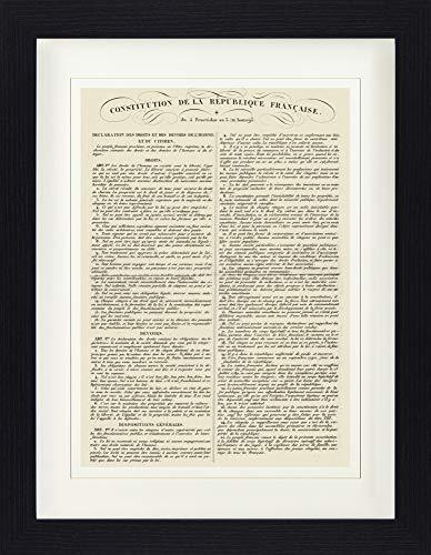 1art1 France Poster De Collection Encadré - Constitution De La République Française, 22 Août 1795 (40 x 30 cm)