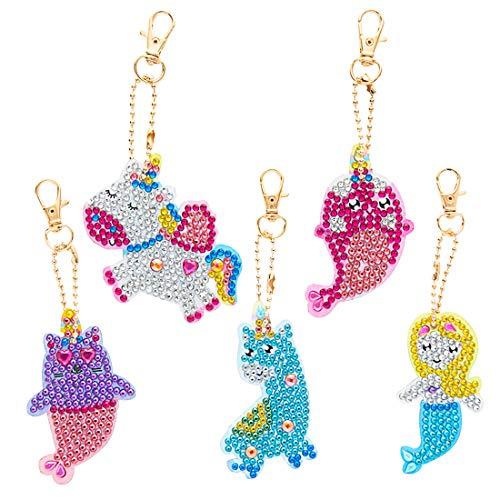 5D Diamante Pintura Llavero - Miotlsy 5Pcs DIY Llavero Colgante Sirena Unicornio DIY Llavero de Diamantes Creativo Para Arte Craft Llavero Teléfono Charm Bag Decor