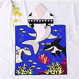 BENBEN Bañador para niños, Abrigo Suave y cálido, Bata con Capucha, Capa con patrón de Dibujos Animados Lindo, Toalla de baño para niños y bebés, tiburón 60 * 120 CM