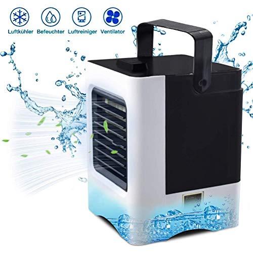 GaLon Mini-luchtkoeler, luchtbevochtiger, luchtbevochtiger, luchtbevochtiger, luchtbevochtiger voor USB-ventilatoren, mobiele airconditioning met oplaadbare lithiumbatterij en telefoonhouder, 3 stuks