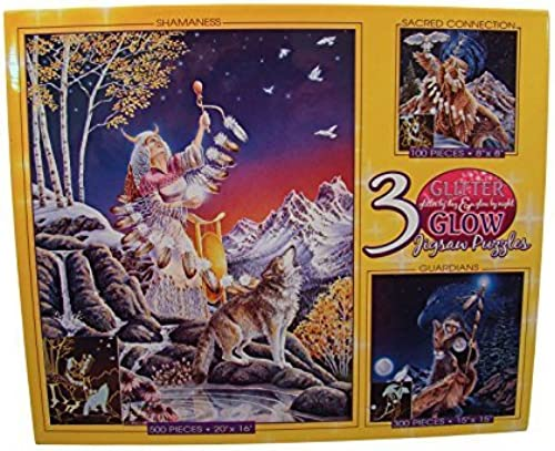 Glitter & Glow Jigsaw Puzzles  100 - 300 - 500 Pieces - Shamaness - Guardians - Sacrot Connection by Ceaco