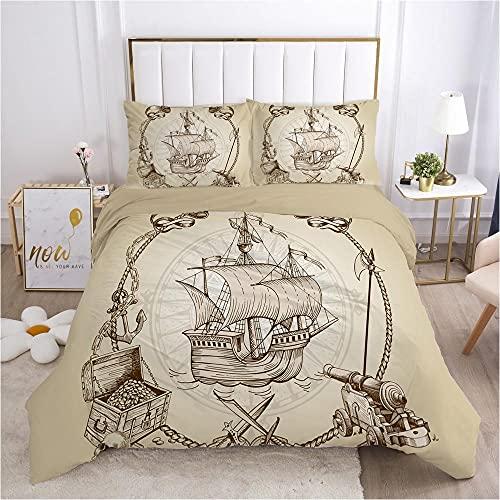 Påslakan Set Dubbelsäng 3PCS Brun bakgrund nautisk segling Easy Care påslakan 260x220cm med 2 örngott 50 x 75 cm - Mjuk mikrofiber sängkläder med blixtlås