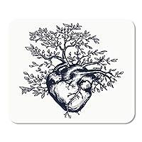 マウスパッドマット解剖学的な人間の心臓木が成長する7.9 X 9.5インチの長方形マウスパッド滑り止めゲームデスクコンピューターラップトップゴム滑らかな表面耐久性