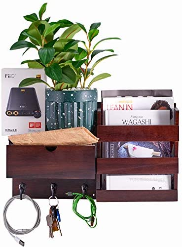 NHZ Wooden Wall Mount Entryway Mail Envelope Organizer with Drawer Key Holder Hooks Leash Hanging product image