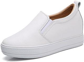 Women's Slip On Loafers Platform Hidden Heel Wedge Sneakers White Black Flat Shoes Fashion Sneakers