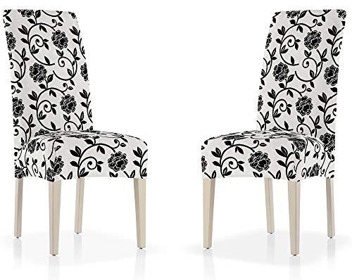 Set van 2 eetkamerstoelen van aanpasbare stof met bloemenpatroon of eenkleurig design (grote keuze aan kleuren), stoelhoezen met rugleuning en afzonderlijke stoelhoezen. Rückenlehne 17 wit en zwart.