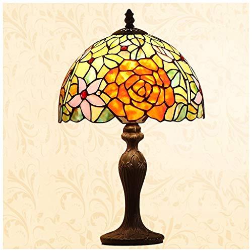 CJW Lampe de table de fleur rétro européenne - étude créative salon jardin 25 cm (10 pouces)